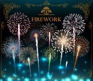 Sistema de fuegos artificiales, bandera festiva, invitación a un día de fiesta Vector Imagen de archivo libre de regalías