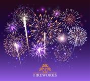 Sistema de fuegos artificiales, bandera festiva, invitación a un día de fiesta Vector libre illustration