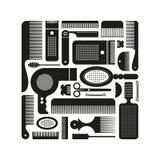 Sistema de fuentes de la peluquería de los contornos: peines, tijeras, secador de pelo etc Fotos de archivo libres de regalías