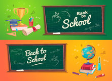 Sistema de fuentes y de iconos de escuela De nuevo a escuela Foto de archivo libre de regalías