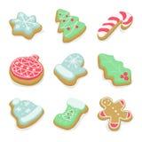 Sistema de galletas de la Navidad del invierno Foto de archivo libre de regalías