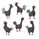 Sistema de gallos de la historieta en el fondo blanco ilustración del vector