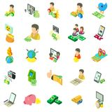 Sistema de ganancia en línea de los iconos, estilo isométrico libre illustration