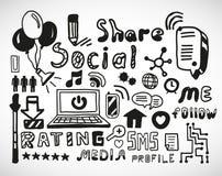 Sistema de garabatos dibujados mano del social Foto de archivo libre de regalías