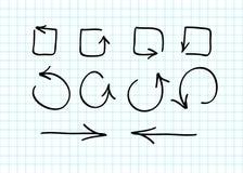 Sistema de garabatos a mano de la flecha del vector Imagen de archivo libre de regalías