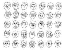 Sistema de garabatos masculinos expresivos de las caras Fotos de archivo libres de regalías