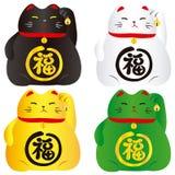 Sistema de 4 gatos afortunados Imagen de archivo