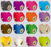 Sistema de gatos afortunados coloridos Imagen de archivo