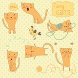 Sistema de gatos divertidos de la historieta. Foto de archivo libre de regalías