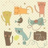 Sistema de gatos divertidos de la historieta. Fotos de archivo libres de regalías