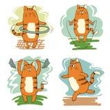 Sistema de gatos lindos de la historieta implicados en deporte Fotografía de archivo