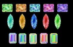 Sistema de gemas coloreadas aisladas en el fondo blanco stock de ilustración