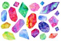 Sistema de gemas o de cristales Ilustración de la acuarela Fotos de archivo