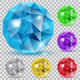 Sistema de gemas translúcidas ilustración del vector