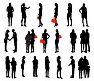 Sistema de gente de la silueta. Ejemplo del vector. Fotografía de archivo