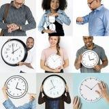 Sistema de gente diversa con collage del estudio de la gestión de tiempo imágenes de archivo libres de regalías