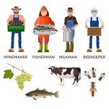 Sistema de gente de diversas profesiones stock de ilustración