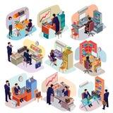 Sistema de gente isométrica en trajes de negocios en la oficina stock de ilustración