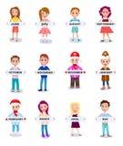 Sistema de gente que lleva a cabo nombres de los meses en vector de las manos Imagen de archivo