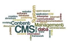 Sistema de gestão satisfeito do CMS - Wordcloud foto de stock