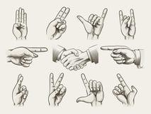 Sistema de gestos de mano del estilo del vintage Foto de archivo