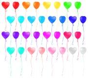 Sistema de globos coloridos en forma de corazón en el fondo blanco Fotos de archivo