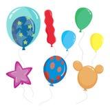 Sistema de globos lindos de la historieta, con diversos formas y vector del color Imagen de archivo libre de regalías