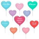 Sistema de globos multicolores en la forma de un corazón con un texto sobre amor stock de ilustración