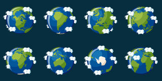 Sistema de globos que muestran la tierra del planeta con diversos continentes ilustración del vector