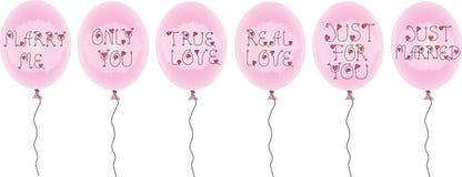 Sistema de globos rosados con las inscripciones con las inscripciones del día de fiesta Imágenes de archivo libres de regalías