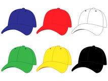 Sistema de gorras de béisbol en diversos colores Foto de archivo