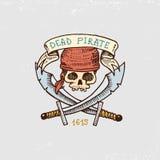 Sistema de grabado, mano dibujada, vieja, etiquetas o insignias para los corsarios, cráneo con los sables Piratas marinos y náuti ilustración del vector