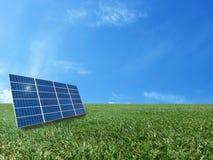 Sistema de grade da energia do poder da célula solar no fundo do conceito da ideia Fotos de Stock Royalty Free