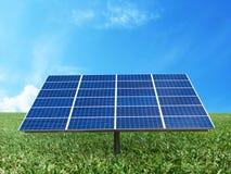 Sistema de grade da energia do poder da célula solar no fundo do conceito da ideia Foto de Stock