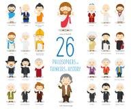 Sistema de 26 grandes pensadores de Philosophersand de historia en estilo de la historieta Imagen de archivo