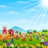 Sistema de granjeros y de jardineros que trabajan en la granja libre illustration
