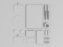 Sistema de Gray Branding Mockup Modelo del asunto Foto de archivo libre de regalías