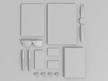 Sistema de Gray Branding Mockup Modelo del asunto Fotografía de archivo libre de regalías