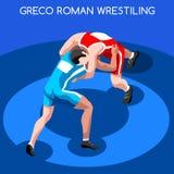 Sistema de Greco Roman Wrestling Summer Games Icon atletas que luchan isométricos 3D Competiti de lucha internacional que se divi Ilustración del Vector