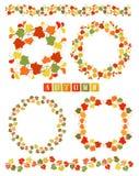Sistema de guirnaldas con Autumn Leaves colorido Imagenes de archivo