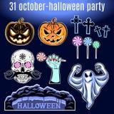 Sistema de Halloween, colección de icono de Halloween Vector Fotografía de archivo