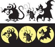 Sistema de Halloween de la silueta enojada de la rata, del palo y de la cucaracha Imagen de archivo