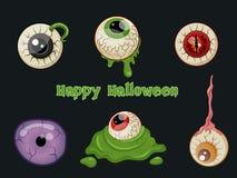 Sistema de Halloween del vector de la historieta del ojo en fondo Fotos de archivo libres de regalías