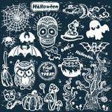 Sistema de Halloween del vintage del vector de iconos Fotografía de archivo libre de regalías