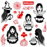 Sistema de Halloween del vintage del vector de iconos Imagen de archivo