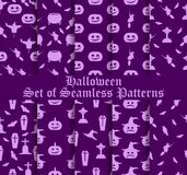 Sistema de Halloween de modelos inconsútiles con las calabazas, las brujas y los símbolos celebradores Vector Fotografía de archivo libre de regalías
