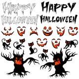 Sistema de Halloween para las postales del diseño Imagen de archivo