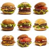 Sistema de hamburguesas Imágenes de archivo libres de regalías
