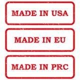 Sistema de hecho en sellos Imagenes de archivo