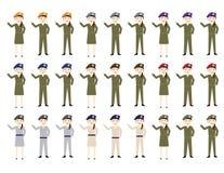 Sistema de hembras y de varones de los soldados de la historieta con los sombreros en diversos colores stock de ilustración